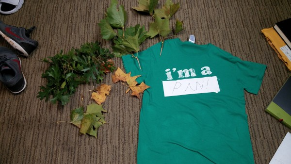 Green T-shirt and leaves
