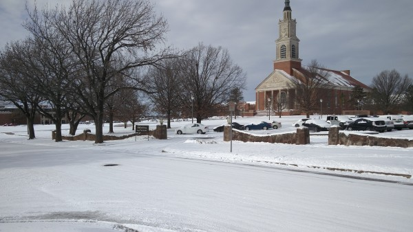 A picture of snow-covered Raley Chapel
