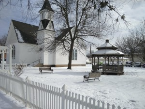 A picture of a snow-covered Stubblefield Chapel