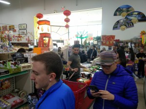 checkout line at the Asian market
