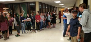 OBU students waiting in line for Bison on the Hill participantants