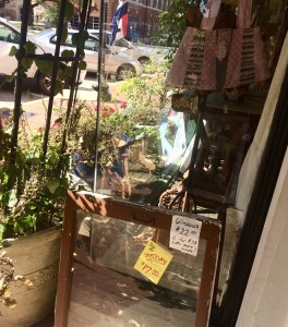 outside one of the many antique shops